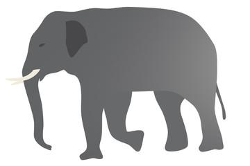 象のイラスト 左向き