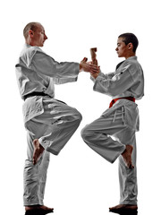 karate men teenager student teacher teaching