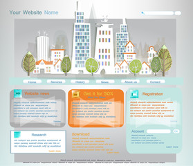 Web template with city illustration