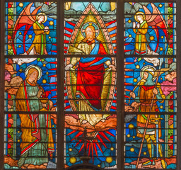Brugge - Jesus Christ from windowpane in st. Giles