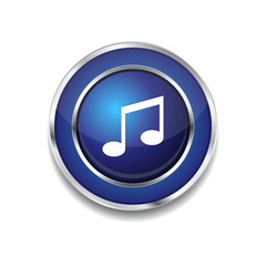 Music Note Circular Vector Blue Web Icon Button