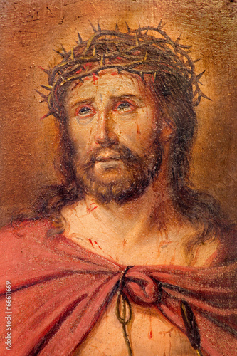 Brugge - The detail of paint of Jesus Christ with the crown - 66611669