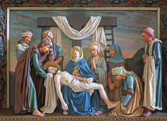 Brugge - Relief of Deposition of the cross in st. Giles