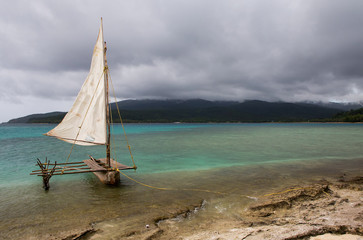 Traditional outrigger Canoe on Mystery Island, Vanuatu