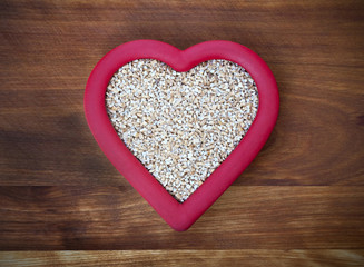Chopped Oats in Red Heart