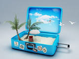 Fototapety Travel suitcase. beach vacation