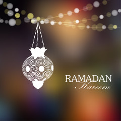 Illuminated arabic lamp, lantern with lights, Ramadan, vector