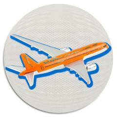 """avion de la compagnie """"air vacances"""" sur boule blanche"""