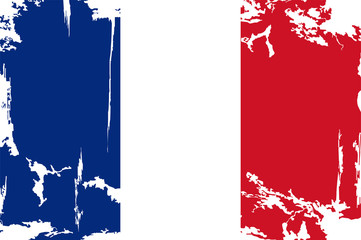 French grunge flag. Vector illustration