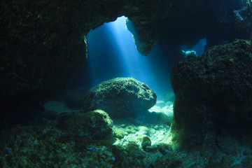 Sunshine in underwater cave