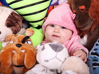 baby and teddies