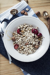 Muesli with fruit and honey
