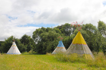 Indian tents on the field