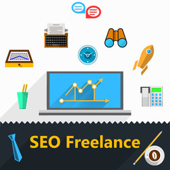 Vector flat icons for freelance and SEO
