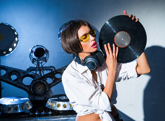 Girl DJ with vinyl records