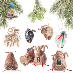 Collection of Christmas decoration sheeps, Ukrainian souvenir