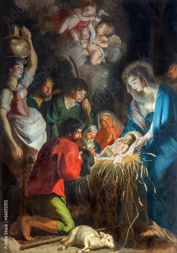 Antwerp  - The Nativity scene  in Saint Pauls church (Paulskerk) - 66615015