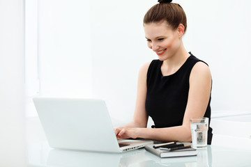 Portrait of smiling Business Woman with a laptop at the Office