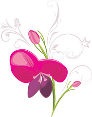 Stylized flower with decorative elements