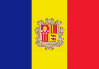 High detailed flag of Andorra