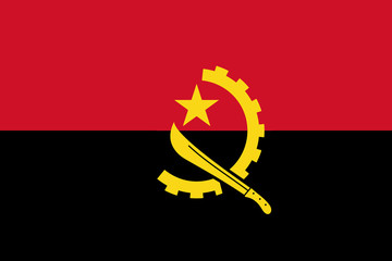 High detailed flag of Angola
