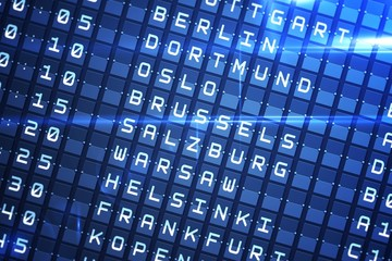 Blue departures board for major cities