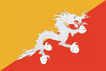 High detailed flag of Bhutan