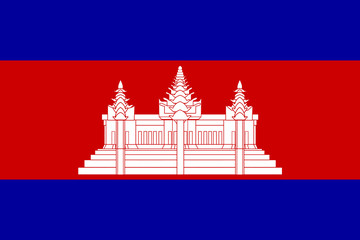 High detailed flag of Cambodia