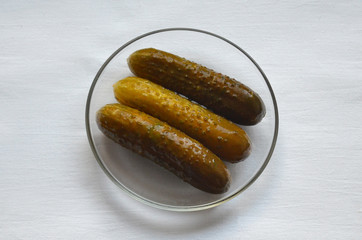 three pickled cucumber