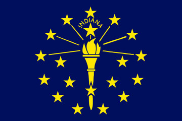 High detailed flag of Indiana
