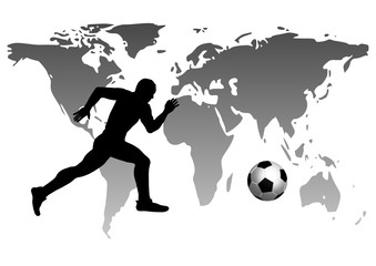 Footballer on the world map background.vector