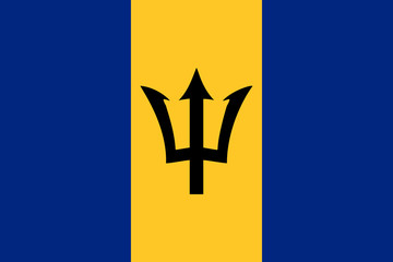 High detailed vector flag of Barbados
