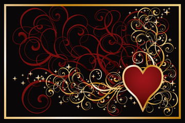 Casino hearts golden card, vector illustration