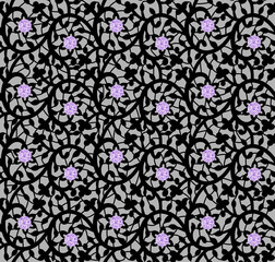 Black seamless floral pattern with lace and diamonds