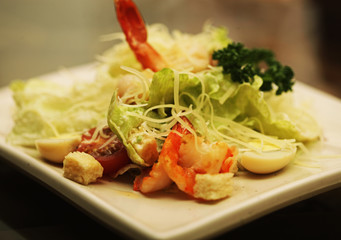 Caesar salad with shrimp