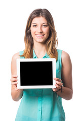 Beautiful Young Woman Holding Digital Tablet