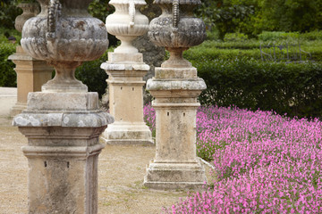 Garden with purple flowers, bushes and columns