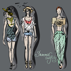 Summer outfits / Fashion sketches of trendy girls