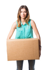 Beautiful Young Woman Holding Box