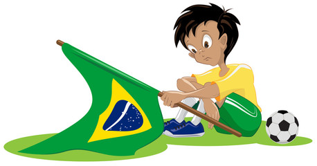 Sad Brazil soccer fan. Illustration in vector format