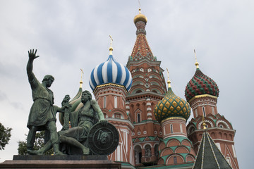 Sculpture in the front of St. Basil's Cathedral, Russia