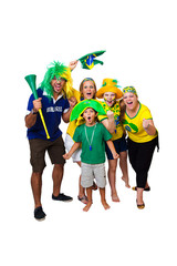 Brazilian family cheering on