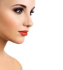 Make-up. Eyes. Red lips