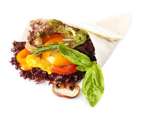 Veggie wrap filled with chicken and fresh vegetables isolated
