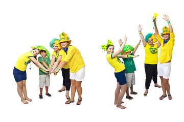 Brazilian fans stacking hands