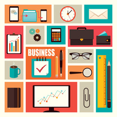Business flat elements set
