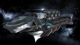 Fototapety Alien battleship in deep space travel on galactic starfield