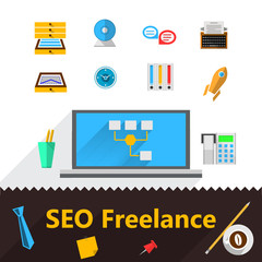 Flat icons for freelance or SEO