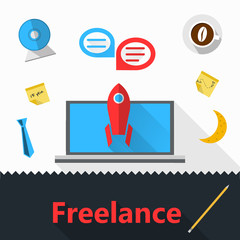 Flat icons for freelance or business