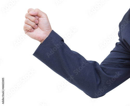 Business Man hand with a fist, isolated on a white background, c